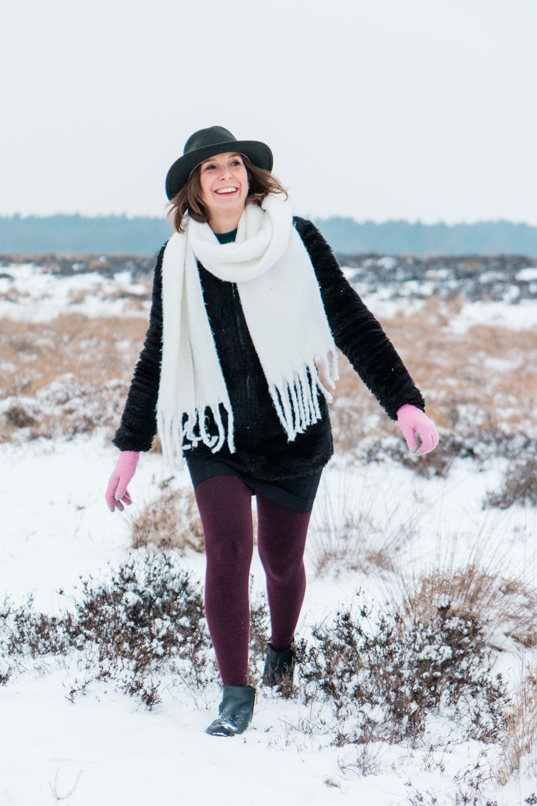 Anne Neijnens in de sneeuw